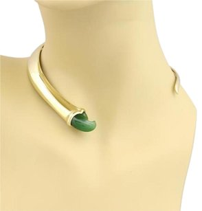 Tiffany & Co. Tiffany Co. Peretti Green Jade Claw Necklace In 18k Yellow Gold