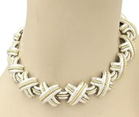 Tiffany & Co. Tiffany Co. 925 Silver 18k Yellow Gold Signature X Crossover Link Necklace 15