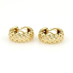 Tiffany & Co. Tiffany Co Vannerie 18k Yellow Gold Open Basket Weave Wide Hoop Earrings