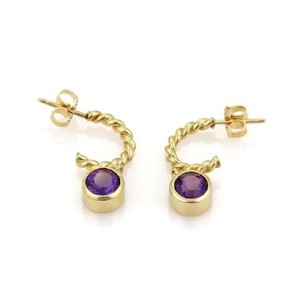 Tiffany & Co. Tiffany Co. 2ct Amethyst Dangle Charm 18k Yellow Gold Wire Hoop Earrings