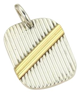 Tiffany & Co. Tiffany Co. 18k Yellow Gold Sterling Silver Ribbed Tag Pendant