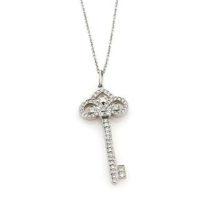 Tiffany & Co. Tiffany Co. Diamonds Platinum Fleur De Lis Key Pendant Necklace 1.5