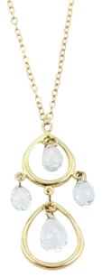 Tiffany & Co. Tiffany Co. Aquamarine 18k Gold Tear Drop Pendant Necklace