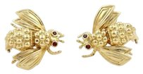 Tiffany & Co. Tiffany Co. Vintage Ruby 18k Yellow Gold Bee Post Clip Earrings