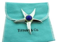 Tiffany & Co. TIFFANY & CO STERLING SILVER 18K YELLOW GOLD LAPIS STARFISH BROOCH PIN