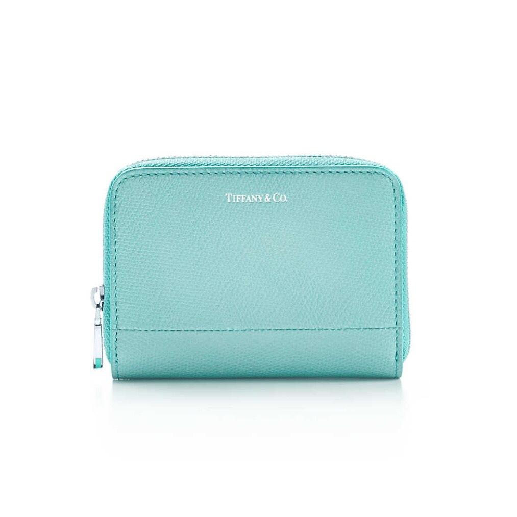 Tiffany Co Blue Teal Co Texture Leather Coins Bag Card Case