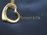 Tiffany & Co. Tiffany Co 18k Elsa Peretti Open Heart Pendant Mesh Chain 36mm 30 Yellow Gold