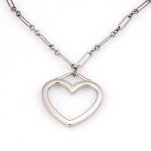 Tiffany & Co. Tiffany Co. 18k White Gold Chain Link Heart Pendant Designer Necklace