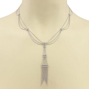 Tiffany & Co. Tiffany Co. 18k White Gold Fringe Tower Tassel Scallop Necklace