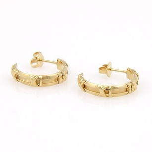 Tiffany & Co. Tiffany Co. 18k Yellow Gold Atlas Numerical Hoop Designer Earrings