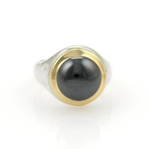 Tiffany & Co. Tiffany Co. 18k Yellow Gold Sterling Silver Hematite Ring