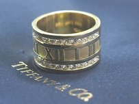 Tiffany & Co. Tiffany Co 18kt Atlas Diamond Yellow Gold Wide Ring .84ct 12mm