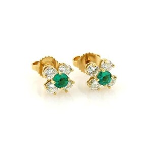 Tiffany & Co. Tiffany Co. Diamonds Emerald 18k Yellow Gold Floral Stud Earrings