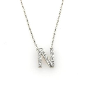 Tiffany & Co. Tiffany Co. Diamonds Platinum Letter N Pendant Chain Necklace