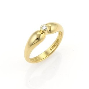 Tiffany & Co. Tiffany Co. Elsa Peretti Diamond 18k Yellow Gold Tear Drop Band Ring -size