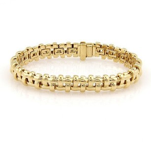 Tiffany & Co. Tiffany Co. Italy 18k Yellow Gold Basket Weave Link Designer Bracelet 7