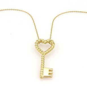 Tiffany & Co. Tiffany Co. Italy 18k Yellow Gold Cable Heart Key Pendant Necklace