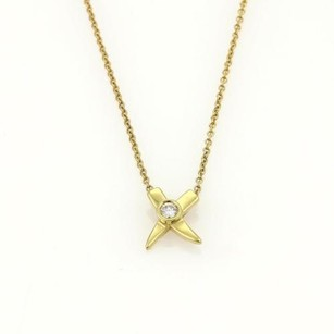 Tiffany & Co. Tiffany Co. Paloma Picasso Diamond Mini Kiss X 18k Gold Pendant Necklace