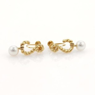 Tiffany & Co. Tiffany Co. Pearls 18k Yellow Gold Nautical Design Dangle Screw Back Earrings