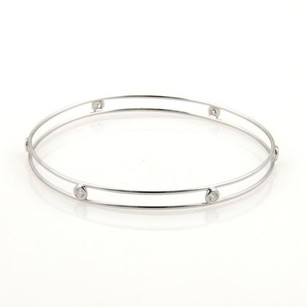 Tiffany & Co. Tiffany Co. Peretti Diamond By The Yard 18k White Gold Double Wire Bangle