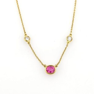 Tiffany & Co. Tiffany Co Peretti Diamond By The Yard Pink Sapphire 18k Yellow Gold Necklace
