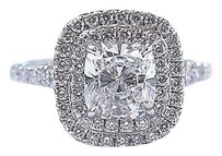 Tiffany & Co. Tiffany Co Platinum Cushion Cut Diamond Soleste Engagement Ring 1.35ct F-vvs2