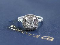 Tiffany & Co. Tiffany Co Platinum Cushion Cut Diamond Soleste Engagement Ring .98ct E-vvs1