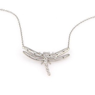 Tiffany & Co. Tiffany Co. Platinum Diamond Dragonfly Pendant Necklace W Pouch