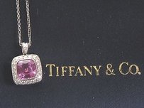 Tiffany & Co. Tiffany Co Platinum Pink Sapphire Diamond Legacy Pendant Necklace 1.99ct.46ct