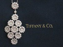 Tiffany & Co. Tiffany Co Platinum Rose Collection Diamond Floral Pendant Necklace 1.80ct
