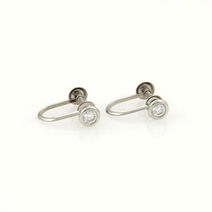 Tiffany & Co. Tiffany Co. Platinum Solitaire Diamonds Screw Back Earrings
