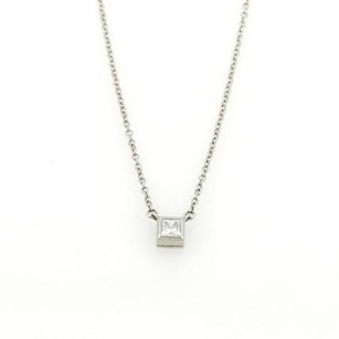 Tiffany & Co. Tiffany Co. Princess Cut Solitaire Diamond Pendant Platinum Necklace