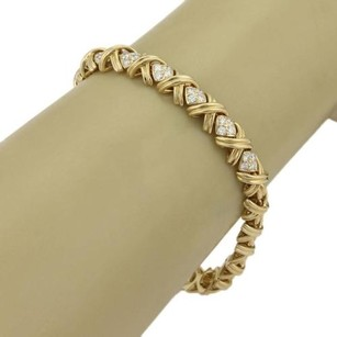 Tiffany & Co. Tiffany Co. Signature X Diamonds 18k Yellow Gold Bracelet