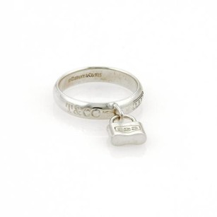 Tiffany & Co. Tiffany Co. Sterling Silver 1837 Pad Lock Drop Charm Band Ring -