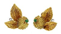 Tiffany & Co. Tiffany Co. Thistle Clip On Earrings 18k Yellow Gold Diamond And Emerald