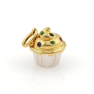Tiffany & Co. Tiffany Co. Vintage Multi-gems 18k Two Tone Gold Cup Cake Charm