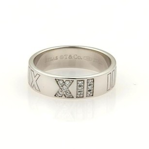 Tiffany & Co. Tiffany Co.atlas Diamonds Roman Numeral 18k White Gold Band Ring