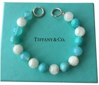 Tiffany & Co. Tiffany Picasso Silver Clasp Amazonite Moonstone 10mm Gemstone Bead Bracelet