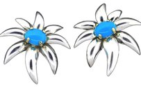 Tiffany & Co. Tiffany,Co,Fireworks,Sterling,Silver,18k,Gold,Turquoise,Clip,On,Earrings