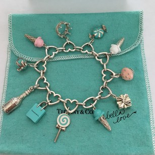 Tiffany & Co. ULTIMATE SUGAR DREAM Silver Ice Cream Crown Cupcake Blue Pink Enamel 11 Charms HEART Clasping Bracelet BOX POUCH!!