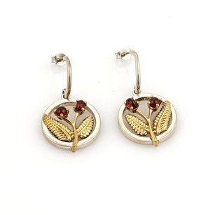 Tiffany & Co. Vintage Tiffany Co. 1ct Garnet 18k Ygold Silver Floral Dangle Earrings