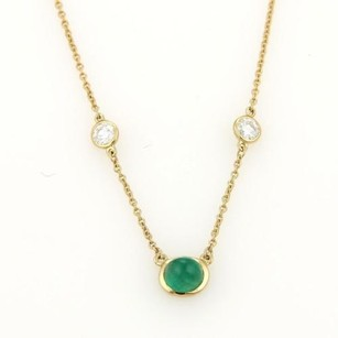 Tiffany & Co. Vintage Tiffany Co. Peretti Emerald Diamond By The Yard 18k Gold Necklace