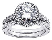 Tiffany Jones Designs 1.80ct I-i1 Ideal Round Natural Diamond 14k Vintage Cathedral Matching Ring 6.4g
