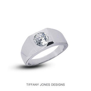 Tiffany Jones Designs 3.98ct F-i1 Ideal Round Natural Diamond 18k Bezel Set Mens Wedding Ring 29.05gr