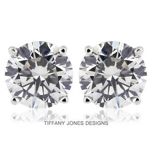 Tiffany Jones Designs 4.00ct Tw G-si2 Exc Round Natural Diamonds 14k 4-prong Solitaire Earrings 1.71gr