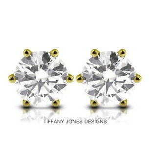 Tiffany Jones Designs 4.02ct Tw F-si1 V.good Round Natural Diamonds 14k 6-prong Solitaire Studs 1.96gr