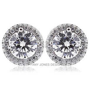 Tiffany Jones Designs 4.52ct Tw I-vs2 Exc Round Natural Diamond 18k Earrings With Halo 3.43gr