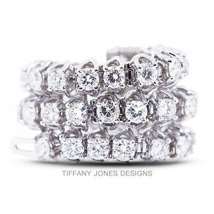 Tiffany Jones Designs Ct Tw F-vs2 Ideal Round Natural Diamonds 18k 4-prong Womens Bracelet 20.76gr