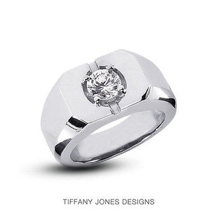 0.34ct F-vs1 Ideal Round Natural Diamond 18k 4-prong Set Men Wedding Ring 17.82g