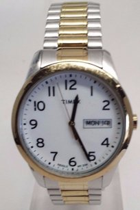 Timex Timex Mens Expansion Stainless Two-tone Bracelet Band Silver Dial Watch T2n063